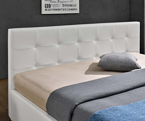 Doppelbett Bettkasten Klappbett Polsterbett Bettgestell Bett Lattenrost Kunstleder (140x200cm, Weiß) -