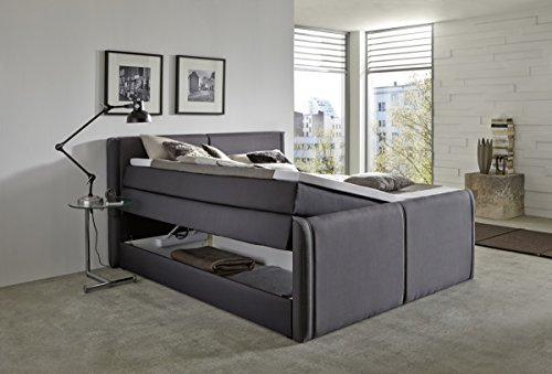 Dreams4Home Boxspringbett 'Aron' in anthrazit mit Bettkasten 180x200cm Hotellbett Polsterbett Ehebett -