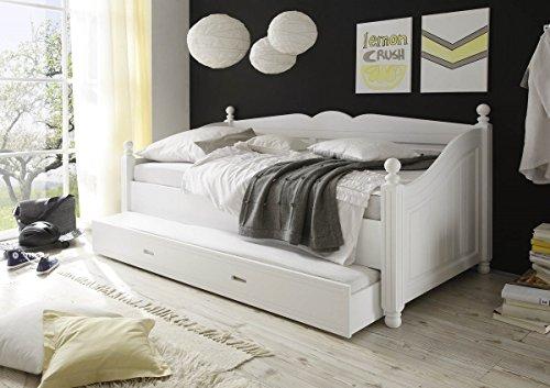 Dreams4Home Kojenbett 'Dreamy' - Bett 90 x 200 cm, Schlafzimmer, Gästezimmer, Kinderzimmer, ohne Matrazte, ohne Lattenrost, in Kiefer teilmassiv, weiß lackiert , Bettkasten:mit Tandemliege inkl. Rollrost -