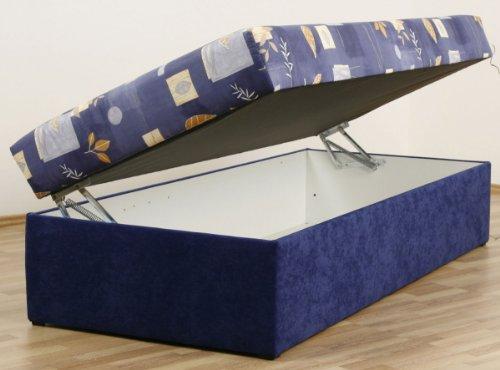 Dreams4Home, Polsterbett, 'Kampen-54', 80, 90, 100, 120, 140x200 cm, blau, Liegefläche:90x200;Komfortvariante:Typ A (bis 140x200) -