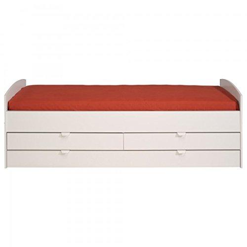 Funktionsbett 90*200 cm weiß inkl.2 Schubladen + Bettkasten Kinderbett Jugendbett Bettliege Bett Jugendzimmer Kinderzimmer Gästezimmer -