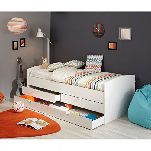 funktionsbett 90 200 cm wei inkl 2 schubladen. Black Bedroom Furniture Sets. Home Design Ideas