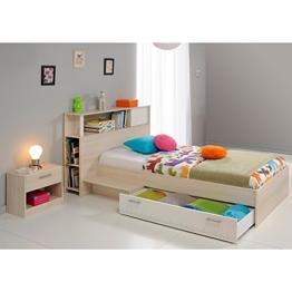 Funktionsbett 90*200 grau inkl. Kopfteil(regal) Anstellregal + Bettkasten + Nachtkommode Kinderbett Jugendbett Jugendliege Bett Jugendzimmer -