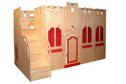 Hochbett Schloss Bett mit Treppe und Fassade GS zertifziert, Kiefer Massivholz aus nachhaltiger Forstwirtschaft, inkl. Rost -