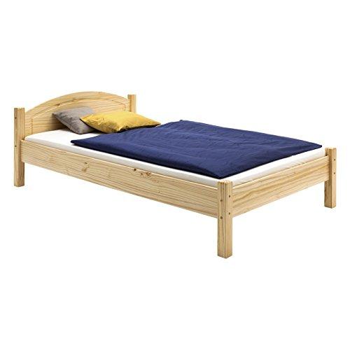 Holzbett Einzelbett Doppelbett MARIE Bett 100 x 200 cm (B x L) Kiefer massiv natur lackiert -