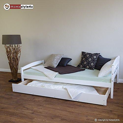 Homestyle4u Funktionsbett Holzbett Kinderbett Jugendbett 90x200 weiß Bettkasten Einzelbett -