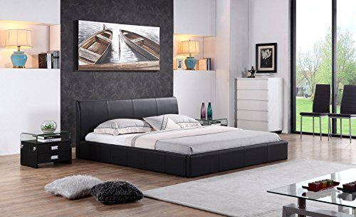 i-flair® - Designer Polsterbett, MONACO Bett 180x200 cm schwarz - alle Farben & Größen -