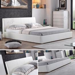 i-flair® - Designer Polsterbett, MONACO Bett 140x200 cm weiß - alle Farben & Größen -