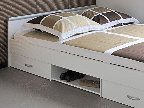 Jugendbett, Bett, 140x200cm mit 2 Bettkästen, weiss, Doppelbett, Leader 3.1 -
