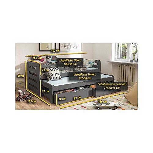 JUSThome KOBI I Funktionsbett Kinderbett Massivholzbett mit Bettkasten (LxBxH): 192x95,5x69 cm Weiß -
