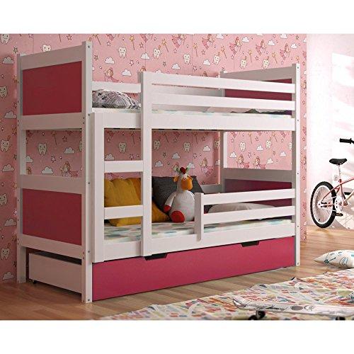 JUSThome LEON Etagenbett Kinderbett Jugendbett mit Bettkasten (LxBxH): 190x85x150 cm Weiß Rosa -