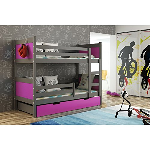 JUSThome LEON Etagenbett Kinderbett Jugendbett mit Bettkasten (LxBxH): 190x85x150 cm Graphit Violett - 1