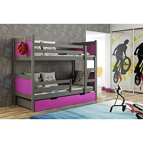 JUSThome LEON Etagenbett Kinderbett Jugendbett mit Bettkasten (LxBxH): 190x85x150 cm Graphit Violett -