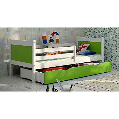 JUSThome LEON Funktionsbett Kinderbett Einzelbett mit Bettkasten (LxBxH): 190x85x75 cm Weiß Grün - 1
