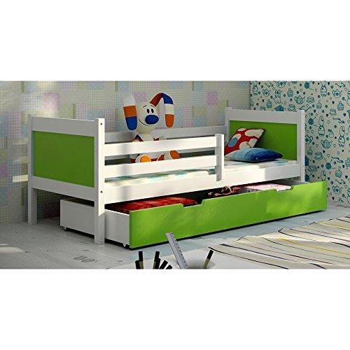 JUSThome LEON Funktionsbett Kinderbett Einzelbett mit Bettkasten (LxBxH): 190x85x75 cm Weiß Grün -