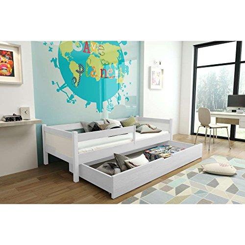 JUSThome SARA Funktionsbett Kinderbett Massivholzbett mit Bettkasten (LxBxH): 165x85x50 cm Weiß -
