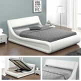 KANSAS Doppelbett Polsterbett mit Gasdruckfeder Bettkasten Bett Lattenrost Kunstleder (140 x 200cm, Weiss) -