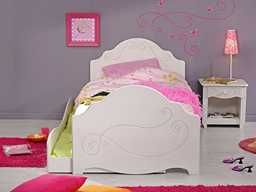 Kinderbett Anne 3, 90x200cm, weiß lackiert, mit Nachttisch und Bettkasten, Kinderzimmer -