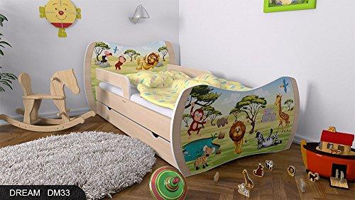 Kinderbett Birne mit Matratze Bettkasten und Lattenrost - verschiedene Motive DM (Safari, 180x90) -