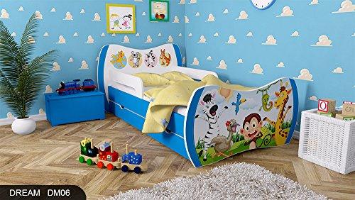 Kinderbett Blau mit Matratze Bettkasten und Lattenrost - verschiedene Motive DM (ZOO, 160x80) -