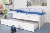 """Kinderbett / Jugendbett """"Easy Sleep"""" K1/1h inkl. 2. Liegeplatz und 2 Abdeckblenden, 90 x 200 cm Buche Vollholz massiv weiß lackiert -"""