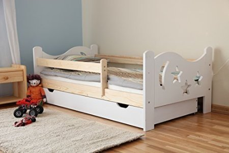 Kinderbett Jugendbett Juniorbett Massivholz mit Matratze 160x80cm (weiss) -