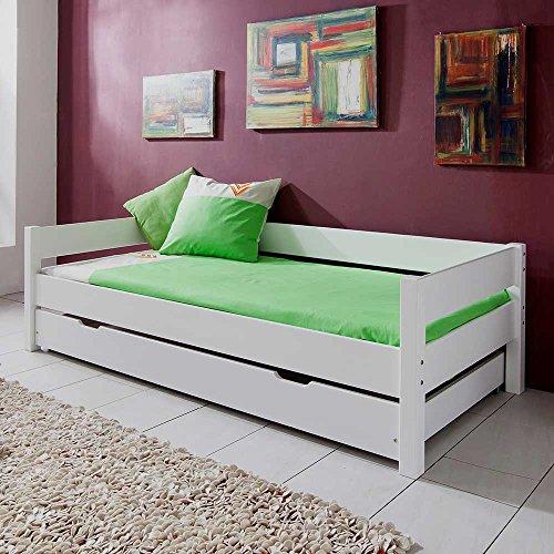 Kinderbett mit Gästebett Weiß Bettkasten Nein Pharao24 -