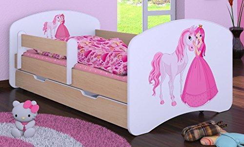 """Kinderbett """" PRINZESSIN MIT PFERD"""" mit Matratze und Bettkasten 180/90 cm – NEU - 1"""