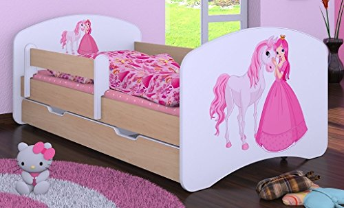 """Kinderbett """" PRINZESSIN MIT PFERD"""" mit Matratze und Bettkasten 180/90 cm - NEU -"""