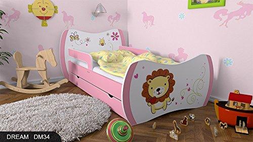 Kinderbett Rosa mit Matratze Bettkasten und Lattenrost - verschiedene Motive DM (Lüwe, 160x80) -