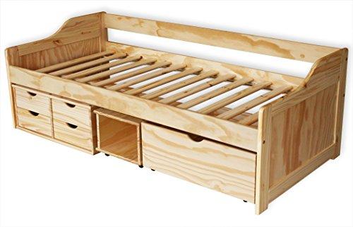 KMH®, Bett aus massivem Pinienholz! (200 x 90 cm / Mit Bettkasten, Rollregal und 4 Schubladen / natur) (#201104) - 1