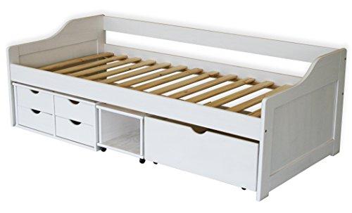 KMH®, Bett aus massivem Pinienholz! (200 x 90 cm / Mit Bettkasten, Rollregal und 4 Schubladen / weiss) (#201105) -