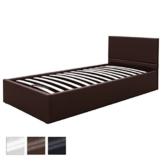 Kunstlederbett 90x200 cm mit integriertem Lattenrost und Bettkasten in 3 verschiedenen Farben -
