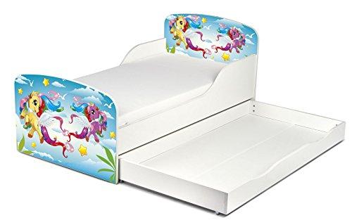 Leomark KINDERBETT 140x70 mit Schublade Funktionsbett Einzelbett mit Matratze Motiv: Pony Sehr Einfache Montage, Bettkasten -