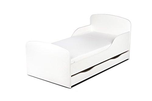 Leomark KINDERBETT 140x70 mit Schublade Funktionsbett Einzelbett mit Matratze Motiv: weiß Sehr Einfache Montage, Bettkasten -