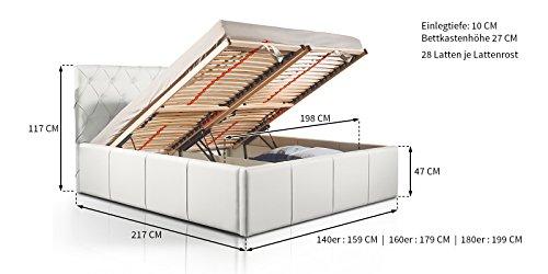 Luxus Polsterbett mit Bettkasten Nelly XXL 180x200 cm Kunslederbett Doppelbett Ehebett Weiß -