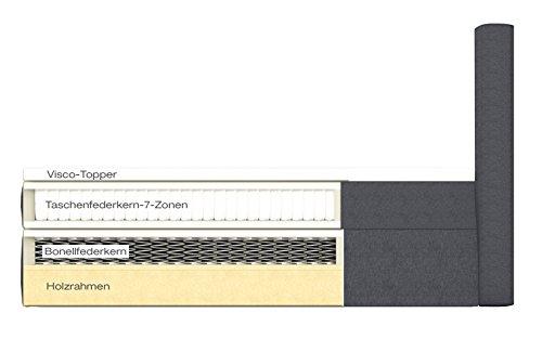 Möbelfreude® Boxspringbett - Andybur - mit Bettkasten Stauraum First Class Hotelbett Quadrate als Steppung Bonell+7-Zonen Taschenfederkern inkl. VISCO TOPPER Polsterbett Amerikanisches Anthrazit 180x200cm H2 -