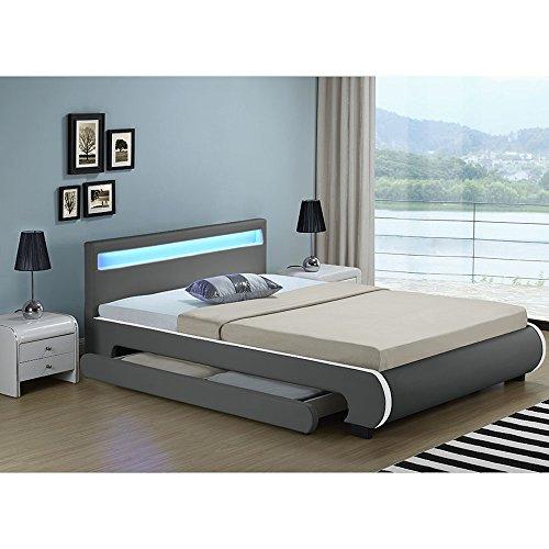 """Polsterbett """"Bilbao"""" - 140 x 200 cm - dunkelgrau -"""