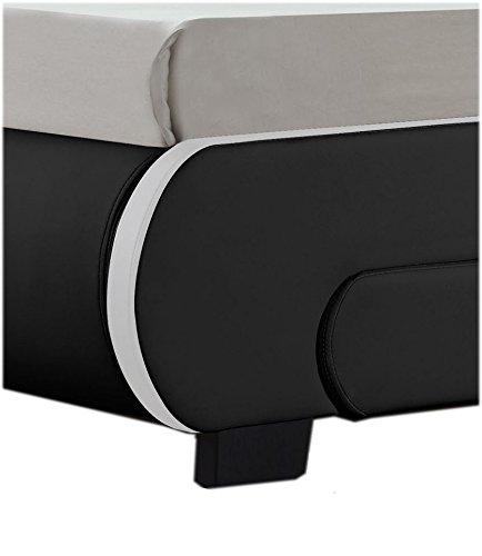 "Polsterbett ""Bilbao"" - 140 x 200 cm - schwarz mit Lattenrost & Kaltschaummatratze -"