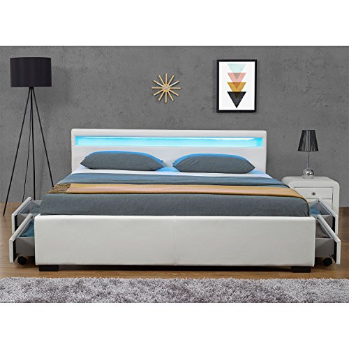 """Polsterbett """"Lyon"""" inklusive Bettkasten - 180 x 200 cm - weiß -"""