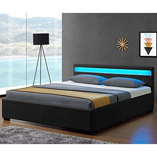 """Polsterbett """"Lyon"""" inklusive Bettkasten - 140 x 200 cm - schwarz -"""