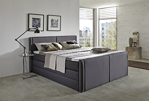 produced4you 6141-881-0000 Boxspringbett mit Bettkasten, 180 x 200 cm, grau -