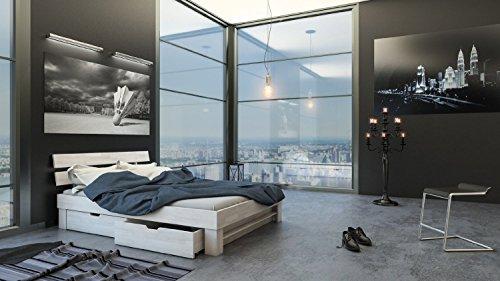 SAM® Massiv-Holzbett Julia mit Bettkästen in Buche weiß, 160 x 200 cm, Bett mit geteiltem Kopfteil, natürliche Maserung, massive widerstandsfähige Oberfläche in edlem Weißton -