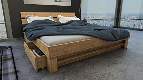 SAM® Massiv-Holzbett Julia mit Bettkästen in Wildeiche geölt, 180 x 200 cm, Bett mit hohem, geteilte Kopfteil, natürliche Maserung, massives widerstandsfähiges Eichenholz in warmem Naturton -