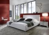 SAM® Polsterbett Zarah weiß 180x200 cm, Bett mit chrom-farbenen Füßen, Kopfteil modern im abgesteppten Design, Doppelbett auch als Wasserbett geeignet -