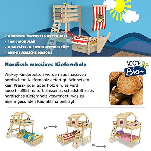 Wickeydream Spielbett Kletterturm Abenteuerbett Captain Rick inkl. Lattenboden 90x200cm Fahne Pirat -