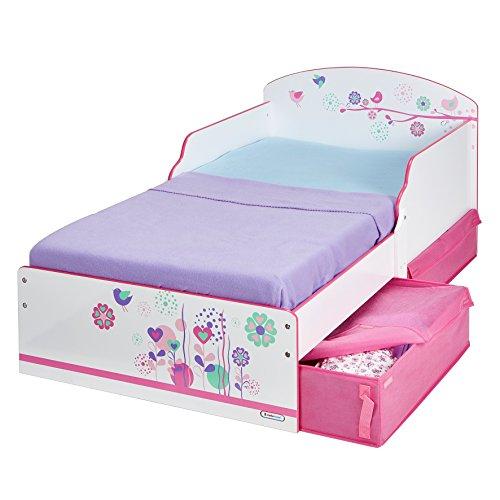 Worlds Apart 516FLW Kinderbett mit Blumen und Schmetterlingen, mit praktischen Schubladen, MDF, Rosa/Blau - 1