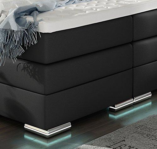 XXL ROMA Boxspringbett mit Bettkasten Designer Boxspring Bett LED Nachtschwarz Rechteck Design (Nachtschwarz, 180x200cm) -