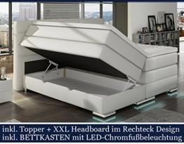 XXL ROMA Boxspringbett mit Bettkasten Designer Boxspring Bett LED Schneeweiss Rechteck Design (Schneeweiss, 180x200cm) -