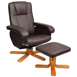 Relaxsessel Sessel TV Wohnzimmersessel Hocker Beinablage Fernsehsessel Drehstuhl (Braun) -